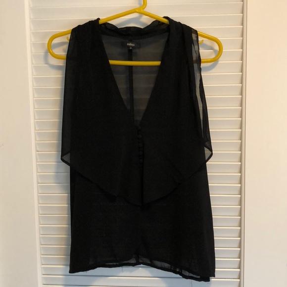 Millau Tops - Sheer black blouse